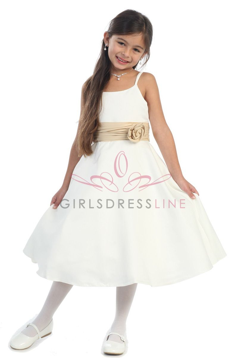 Clearance final sale ivory simple satin aline flower girl dress