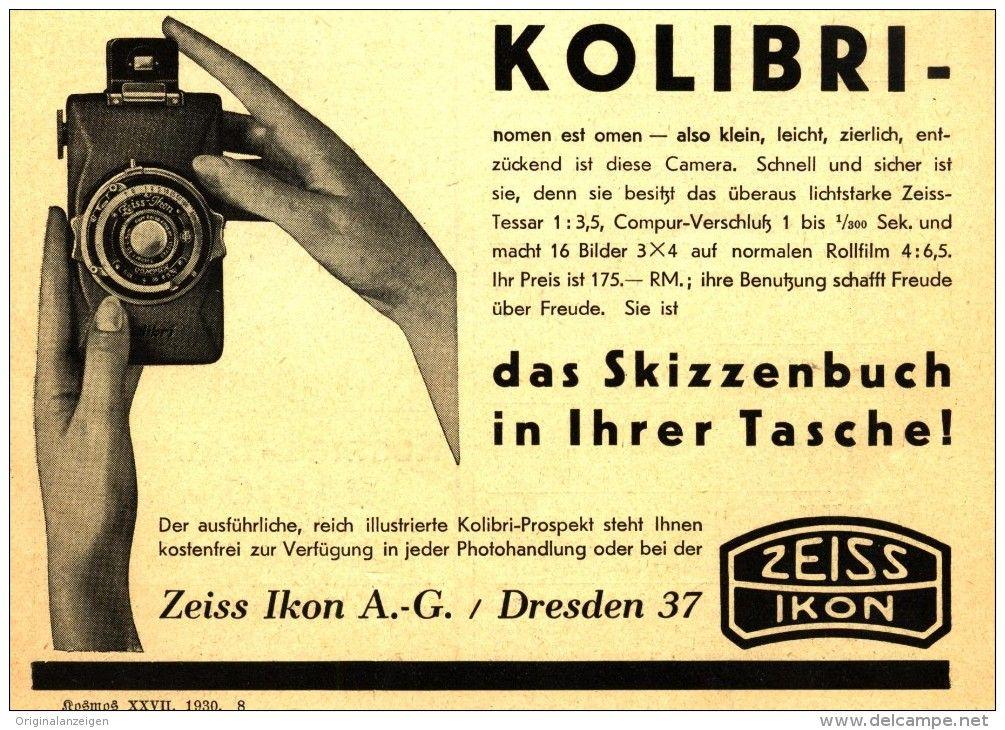 Original-Werbung/Inserat/ Anzeige 1930 - ZEISS-IKON KOLIBRI CAMERA  - ca. 140 x 120 mm