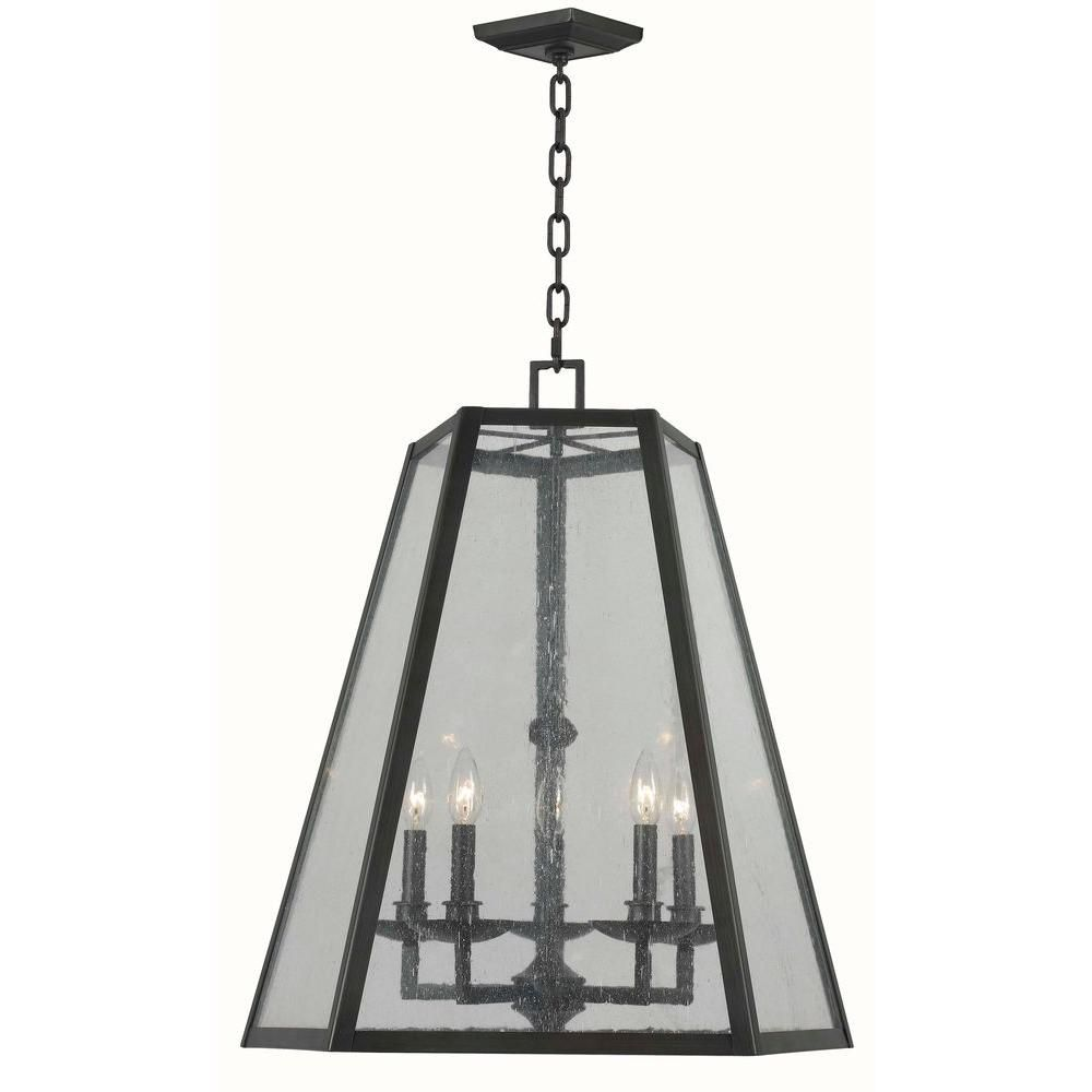World Imports Bedford 5-Light Oiled Rubbed Bronze Glass Pendant-WI613588 - The Home Depot
