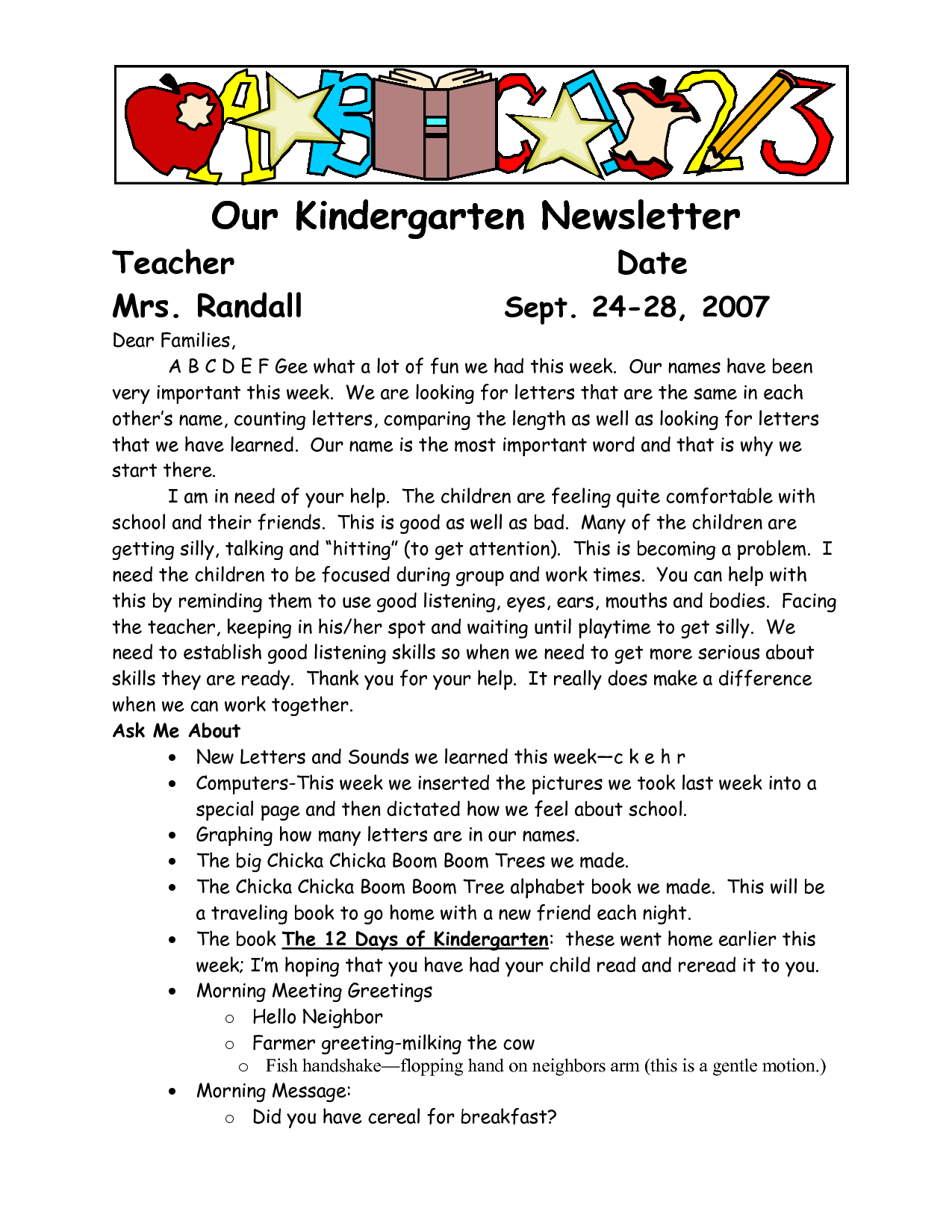 sample welcome to kindergarten letters | Our Kindergarten