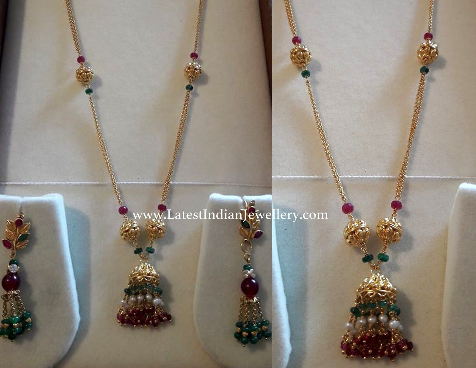 22 carat gold floral designer pendant with multiple beads chain and - Light Weight And Trendy Gold Chain With Jhumka Design Pendant Attached Along With Gold Balls And Ruby Emerald Beads Is Paired With Light Weight Gold