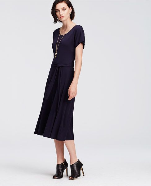 32168114592b Ann Taylor s Belted Jersey Midi Dress in Navy Blue is the perfect one step  outfit.