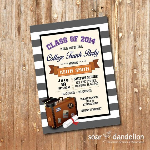 Trunk Party Invitation Graduation Party GP001 by soardandelion - best of invitation wording ideas for graduation party