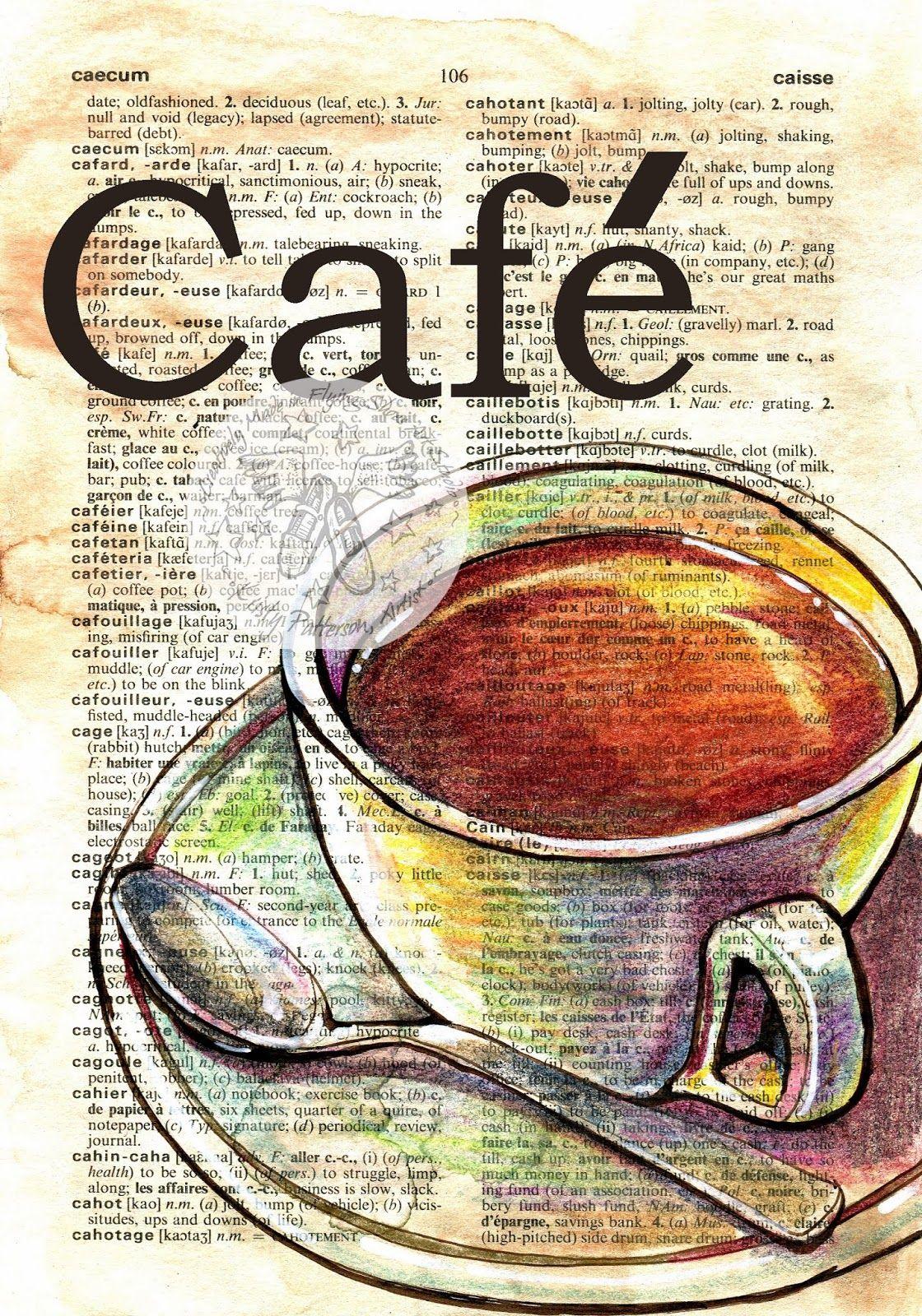 French Cafe French Tea Tazas De Cafe Dibujo Dibujos Con Cafe Pintura Sobre Periodico
