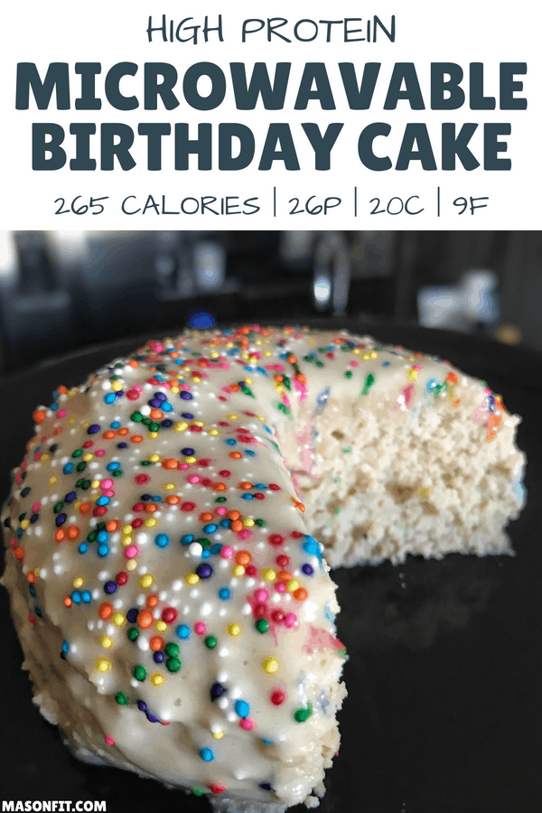 Microwavable High Protein Birthday Cake: Healthy Mug Cake Recipe #proteinmugcakes