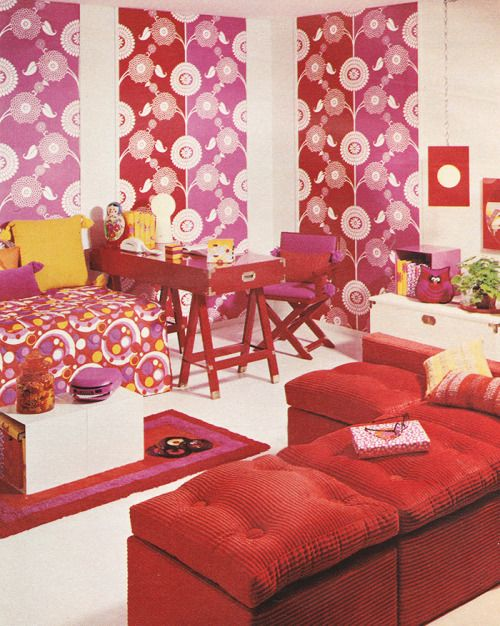 October 1969. \'\'The Den. It\'s a snug retreat, aglow with fabric wall ...