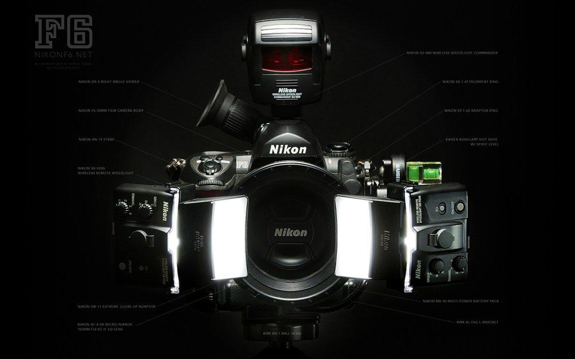 Nikon F6 shown with: Nikon R1C1 Macro Close-Up Flash Kit (Nikon SU-800  wireless speedlight commander, Nikon SX-1 attachment ring, Nikon SY-1-62  adaptor ring ...