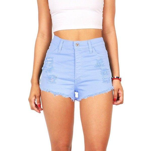 Vibrant Women's Juniors Denim High Waist Cutoff Shorts (115 BRL) ❤ liked on Polyvore featuring shorts, high-waisted denim shorts, denim cut offs, high waisted cut off shorts, denim shorts and highwaist shorts