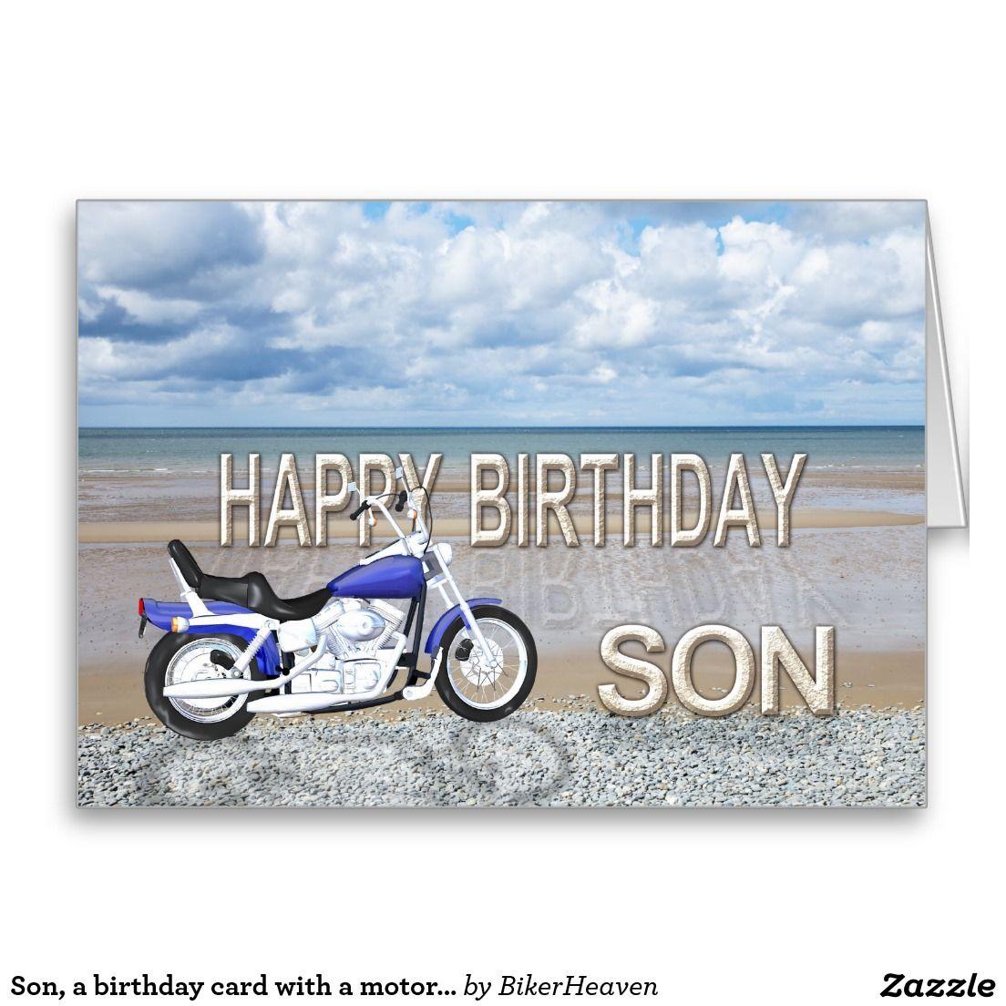Zoon, een verjaardagskaart met een motorfiets kaart