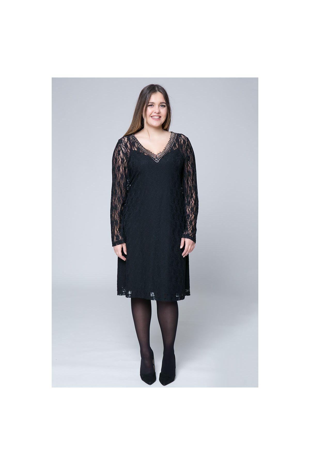 Midi διπλό φόρεμα δαντέλας σε μαύρο χρώμα με χρυσή τρέσα  aa7c8339e5f