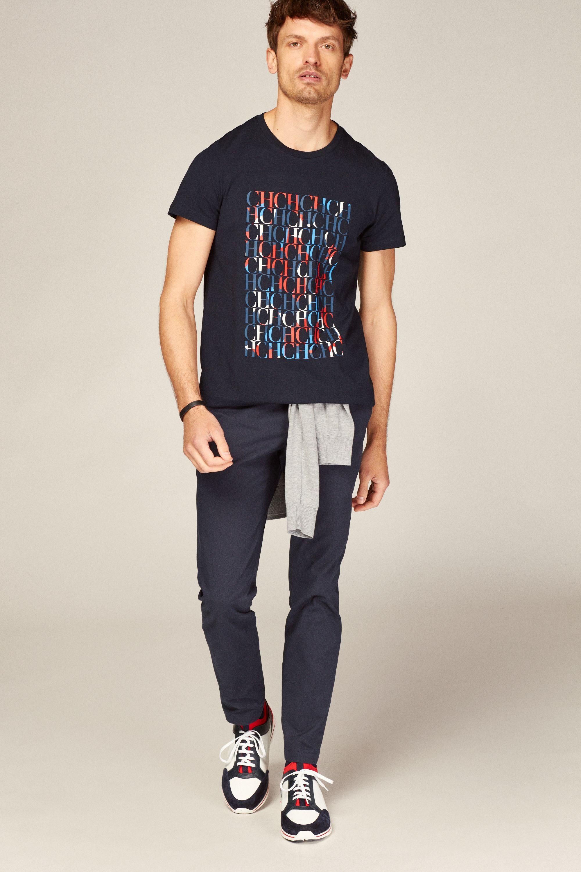 Camiseta De Algodon Ch Azul Marino Nueva Coleccion De Hombre Nueva Coleccion De Hombre De Ch Carolin Camisetas De Algodon Camisetas Carolina Herrera Hombre