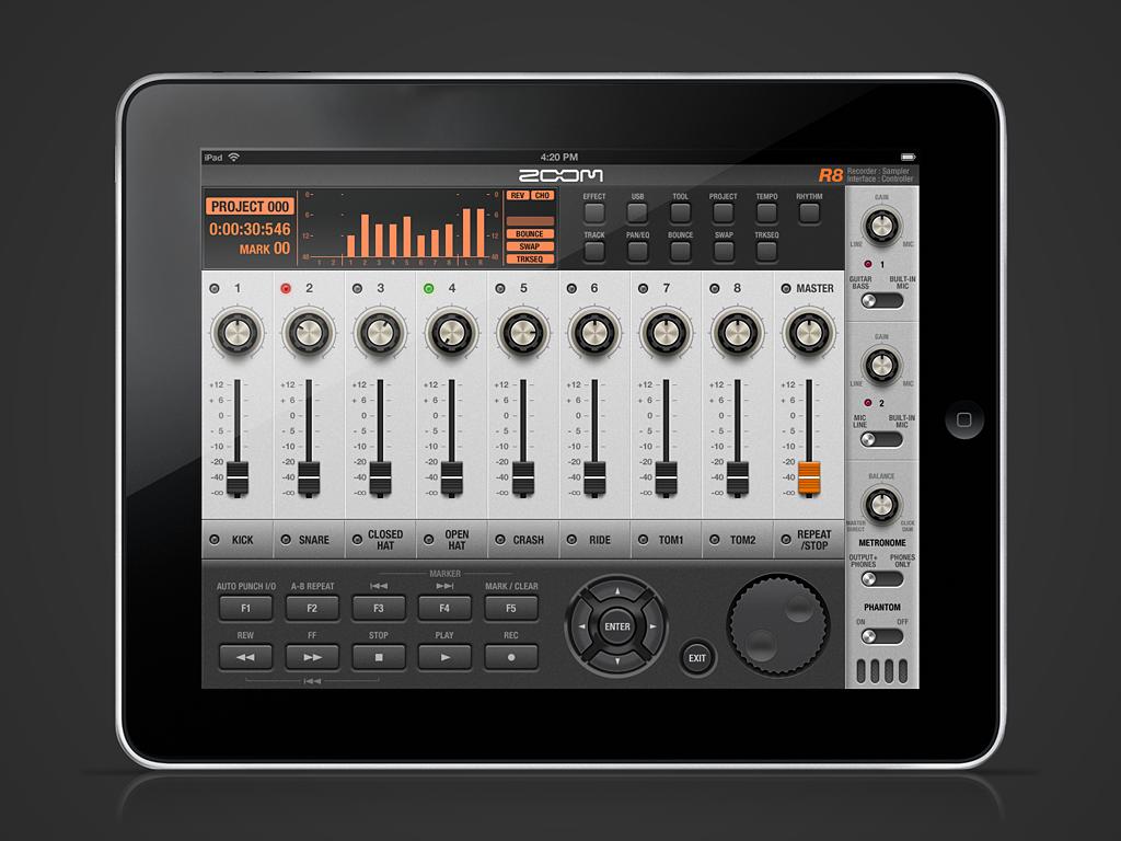 zoom R8 App GUI concept design for iPad