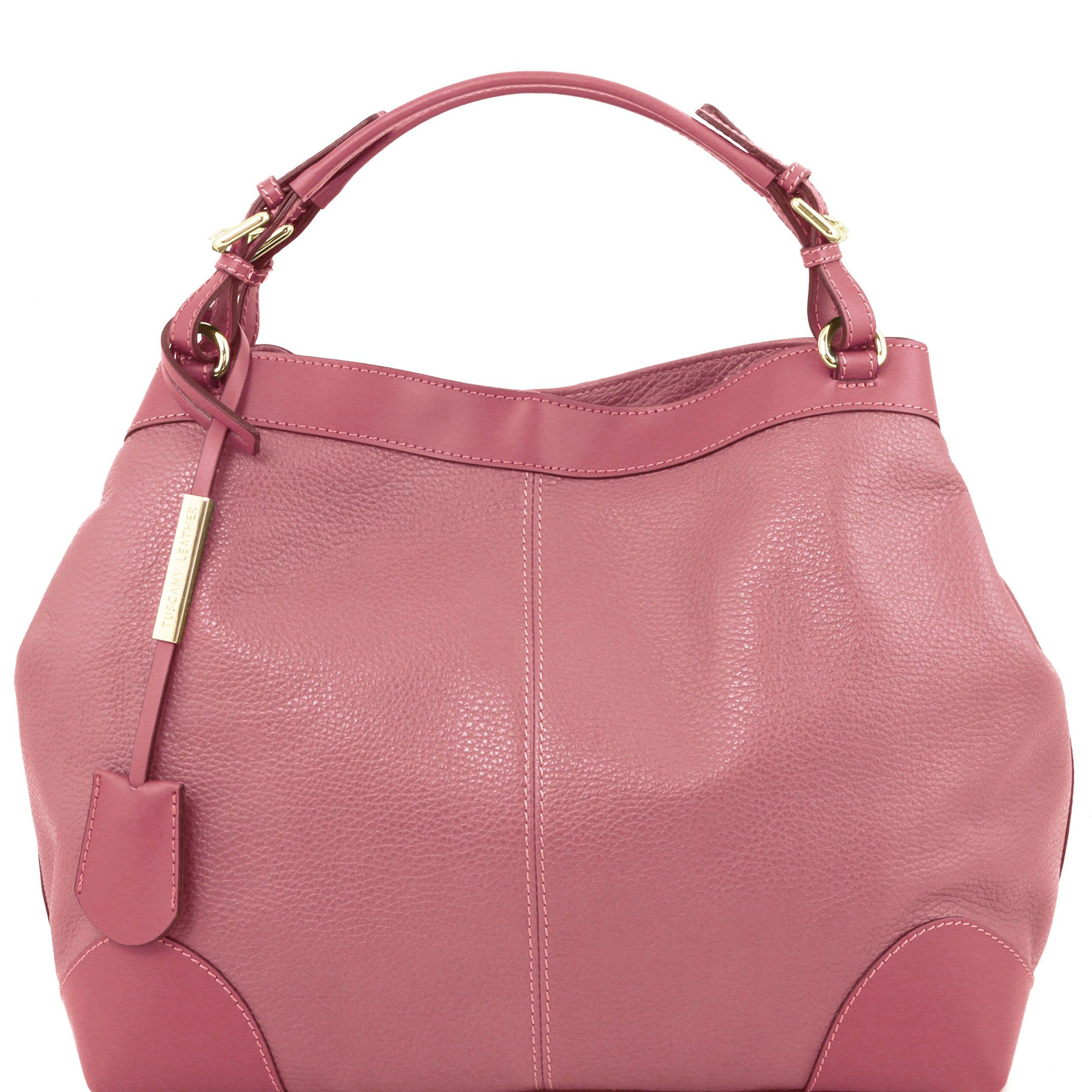 5d178e79a726 Tuscany Leather Ambrosia - Soft leather bag with shoulder strap Dusty Rose Leather  handbags