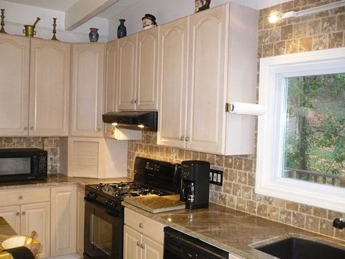 Light Stone Backsplash House Pinterest Lights