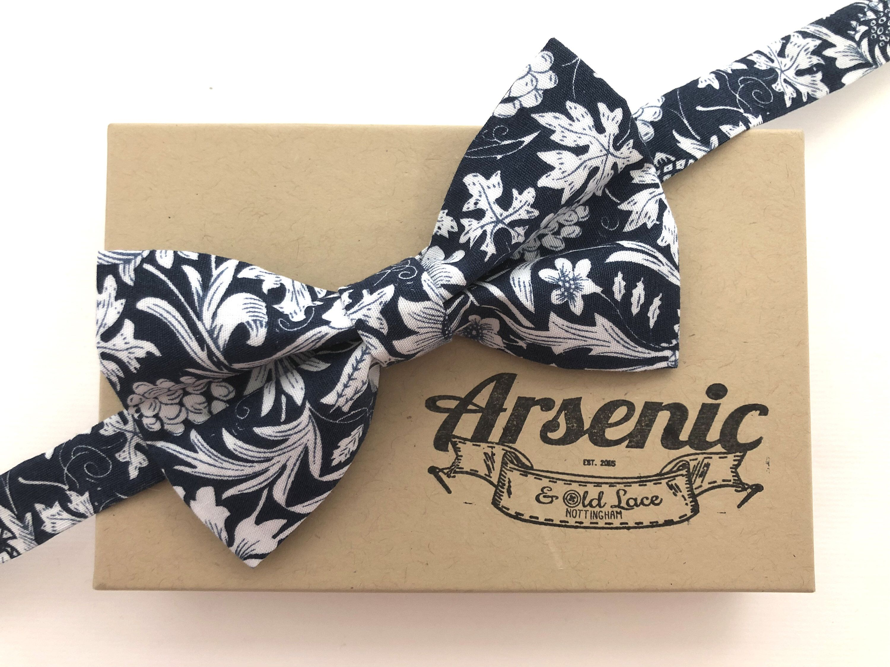 552ceefca42a Men's Navy and White Floral Bow Tie - available as traditional self ...
