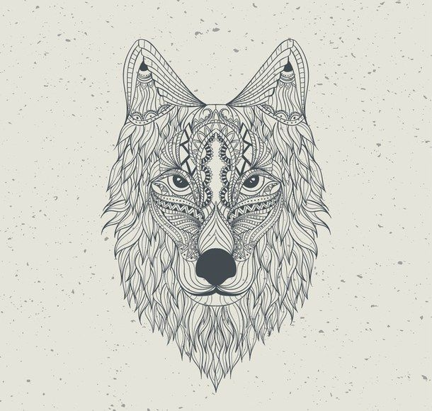 aztec, background, draw, hand, hd, pattern, wallpaper, wolf Art