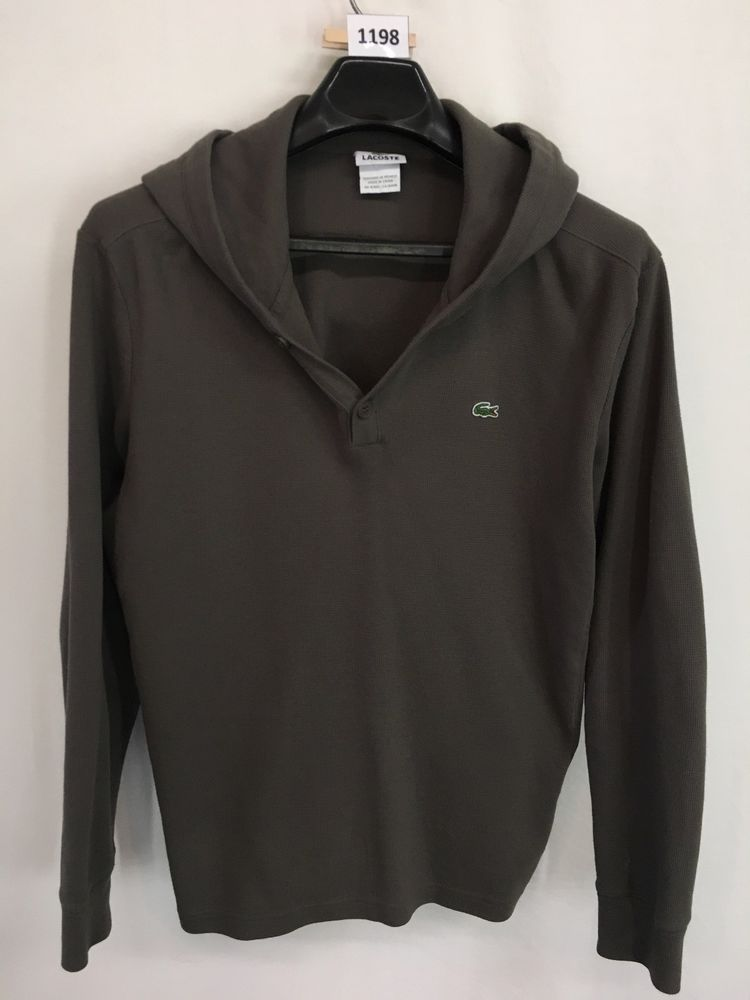 f5a37e385e1 MENS SIZE 6 LARGE LACOSTE THERMAL HENLEY T-SHIRT HOODIE LONG-SLEEVE LOOKS  NEW #Lacoste #Hoodie