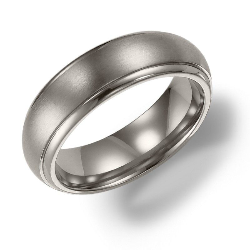 6mm wide titanium mens wedding band with domed raised
