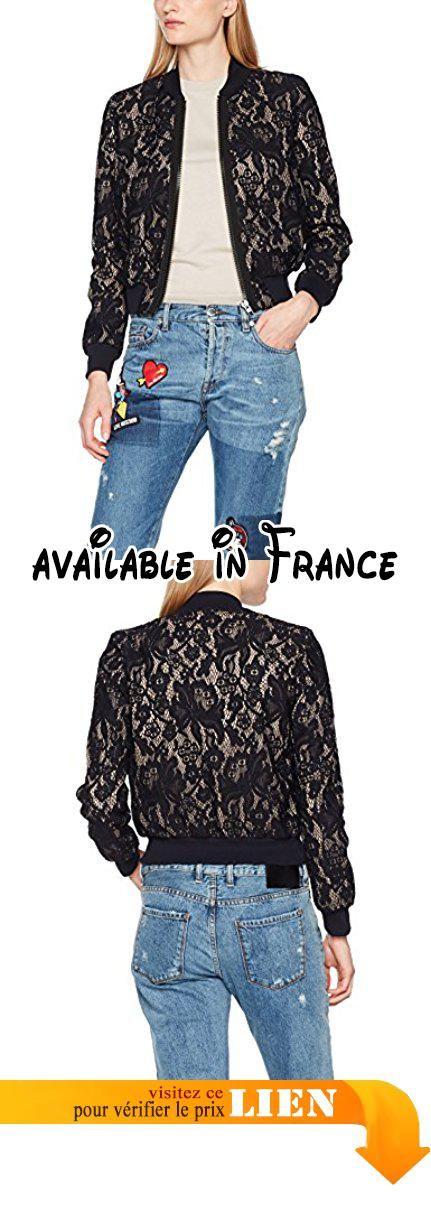 Bonded Jacket Lace 4014 Moschino Blouson Love blackpink Femme Noir B072lpb97q xSIOqREW
