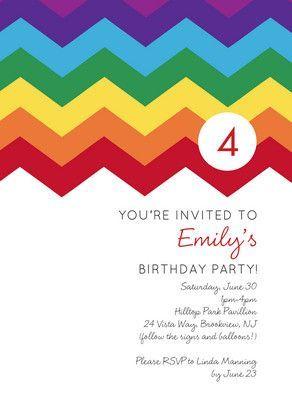 Rainbow zig zag zig zag and birthdays rainbow zig zag birthday invitation stopboris Choice Image