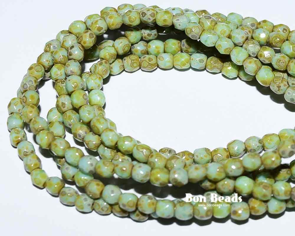3mm green turquoise picasso @ www.bonbeads.com