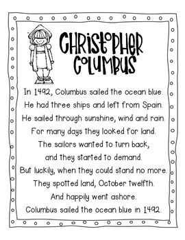 christopher columbus pocket chart poem and writing activity. Black Bedroom Furniture Sets. Home Design Ideas