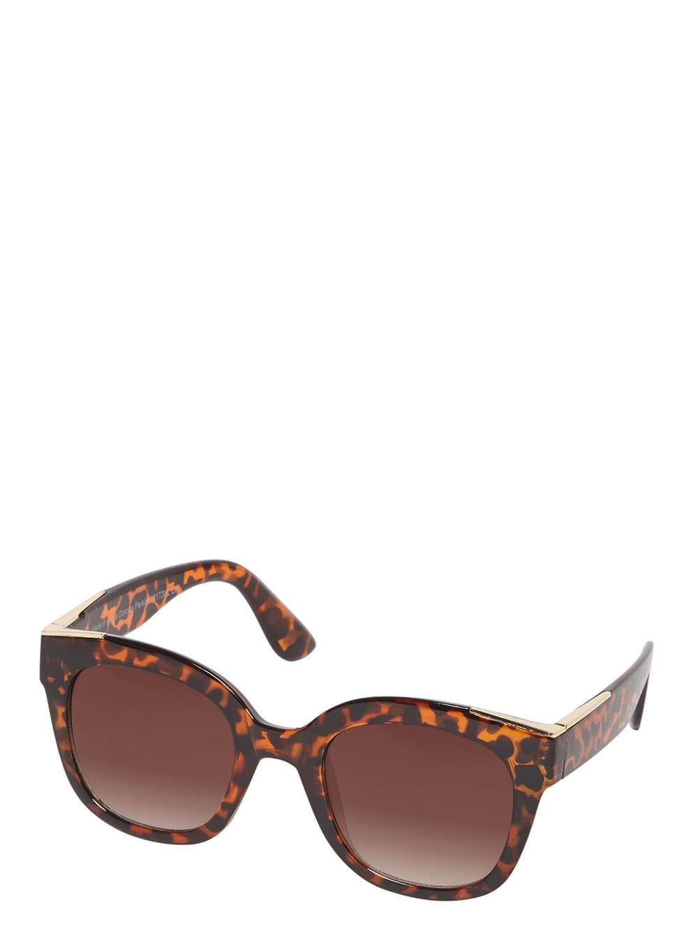 Womens **Lily & Franc Tortoise Oversized Sunglasses- Brown