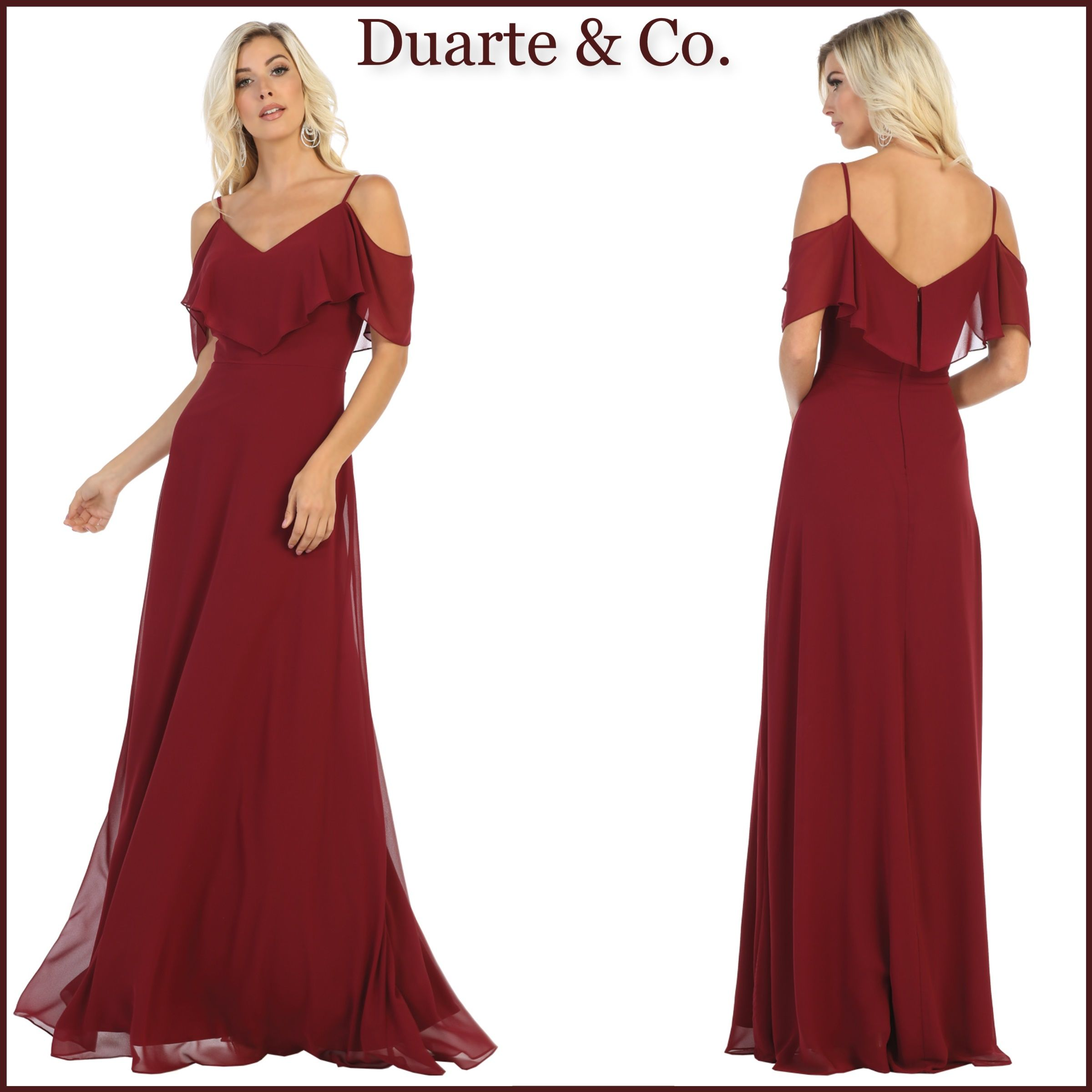 Cold Shoulder Chiffon Dress W/Plus Sizes LC216862