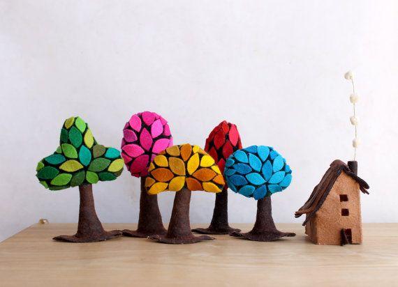 Bunte Wald mit einer kleinen Kabine. Miniatur von Intres auf Etsy