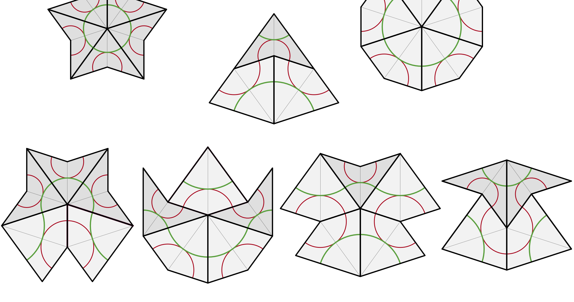 Penrose Vertex Figures Showing Combinations Of Kites And