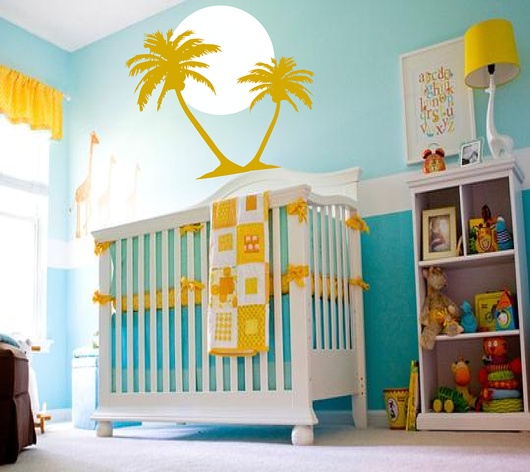 Others Comfy Tropical Surf Art Wall Decals Ideas In Fantastic Blue Yellow Nursery Interior Design Cozy Inspiration