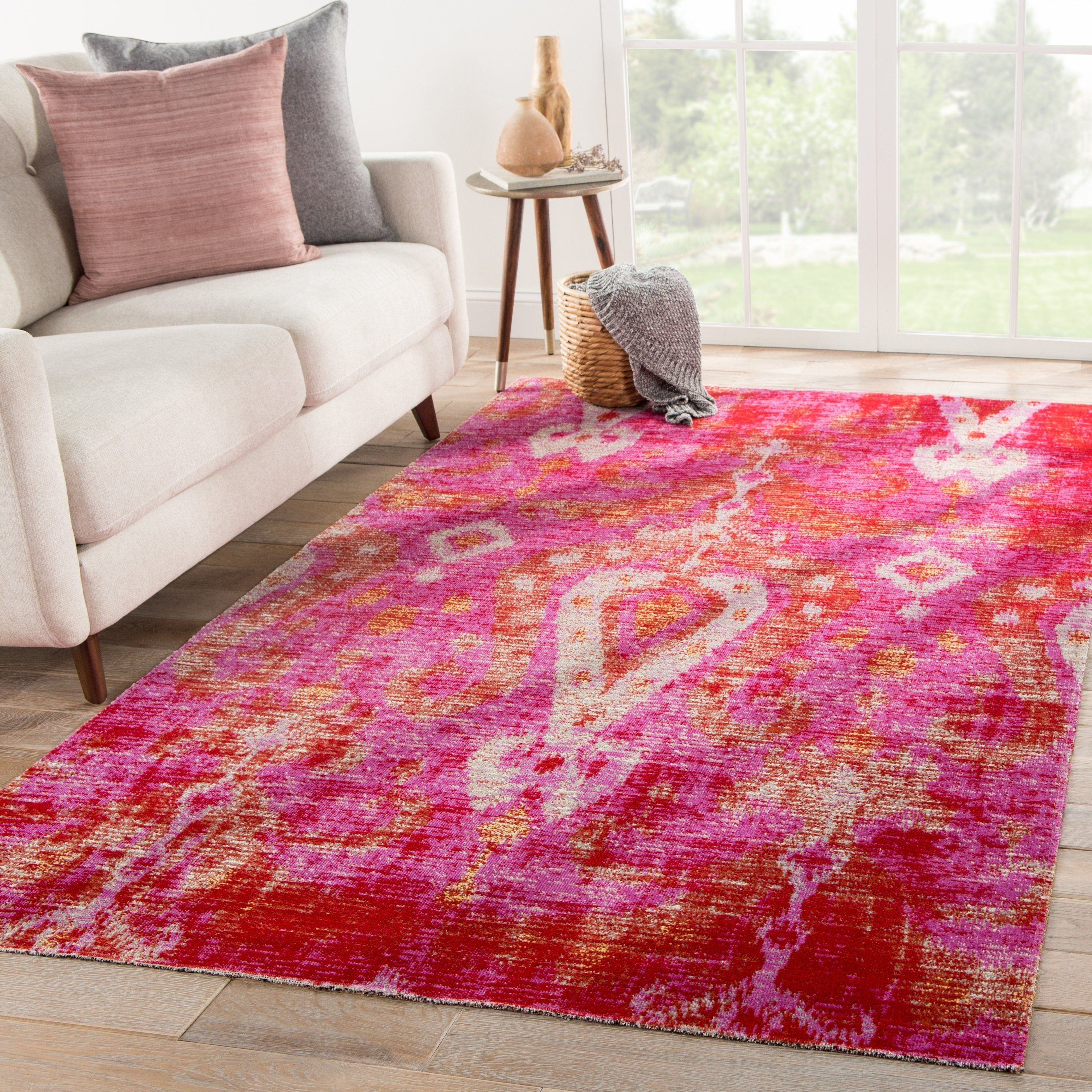 The Curated Nomad Leona Indoor Outdoor Ikat Pink Area Rug