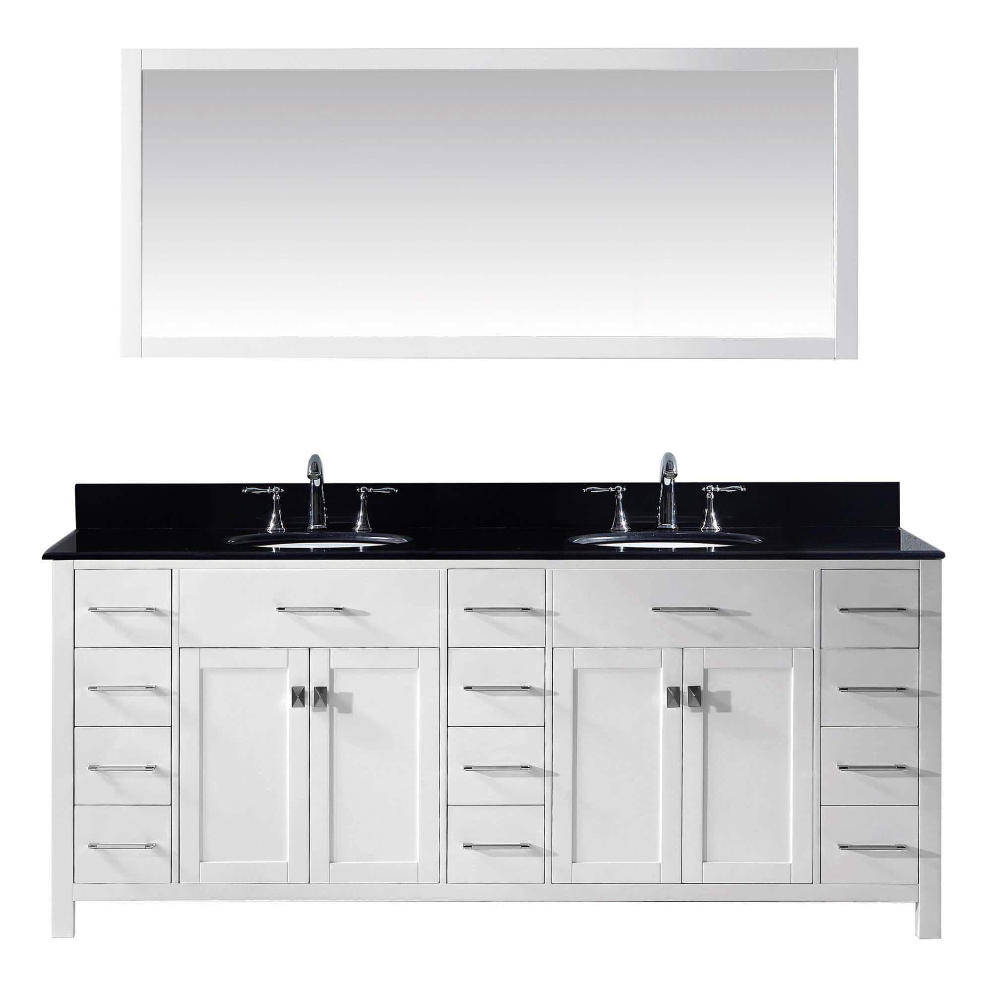 Virtu USA Caroline Parkway 78 Inch Double Bathroom Vanity Cabinet Set In