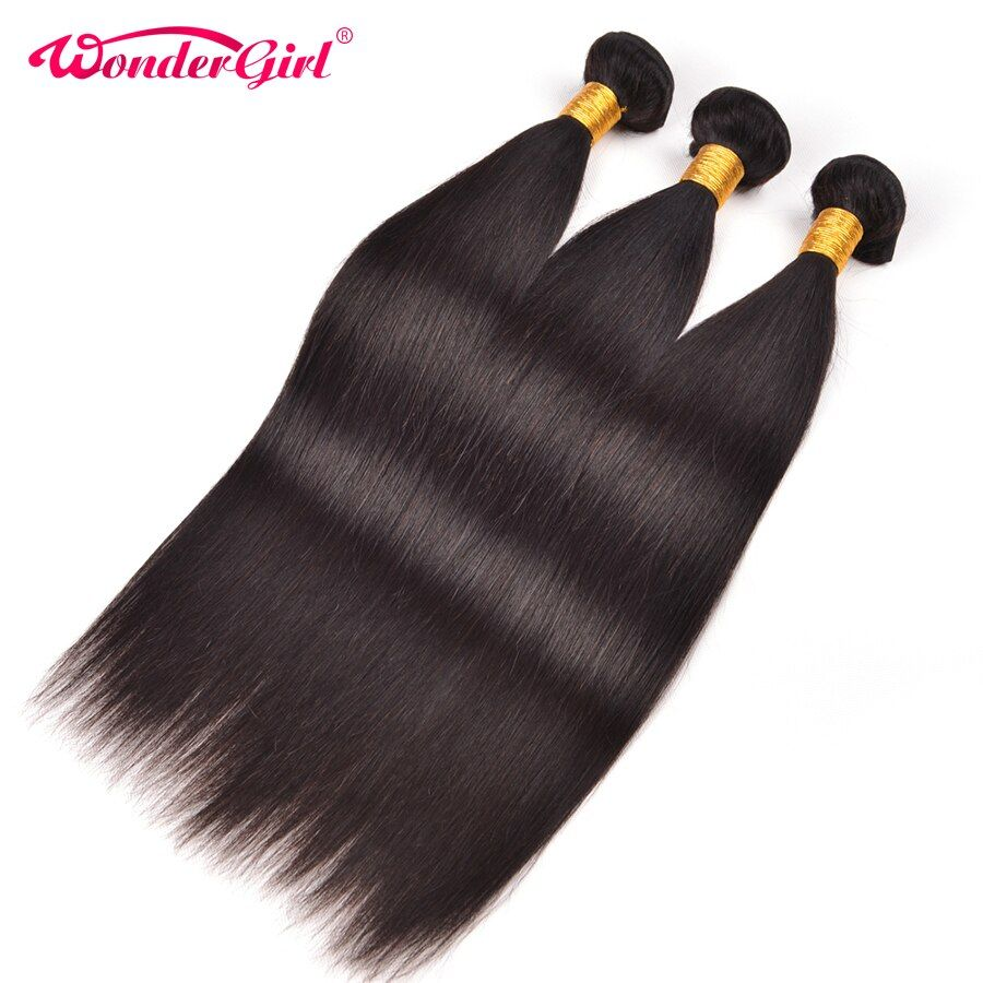 Wonder Girl Peruvian Straight Hair Human Hair Bundles Natural Color Non Remy Hair Extension Can Be Dyed 1 Piece #humanhairextensions