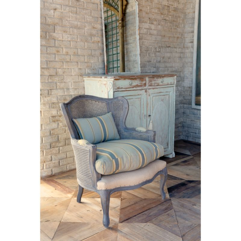 Cane Wingback Lounge Chair with Blue Linen Stripe Cushion