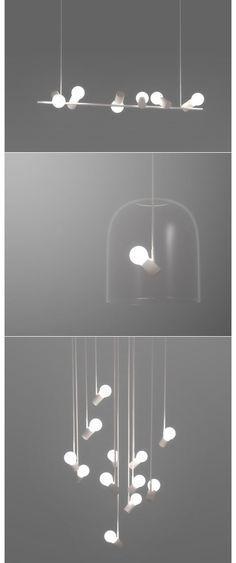 bird lamps - angled bulb sockets | lighting . Beleuchtung . luminaires | Design: Zhili Liu |