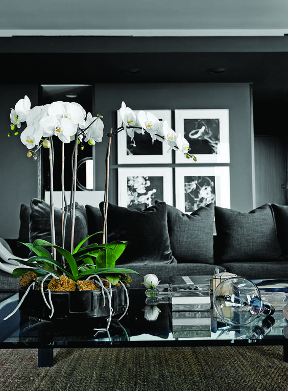 Decoration Amazing Dark Living Room Design With Modern Black Sofa Glass Coffee Table Vase Painting In Elegant