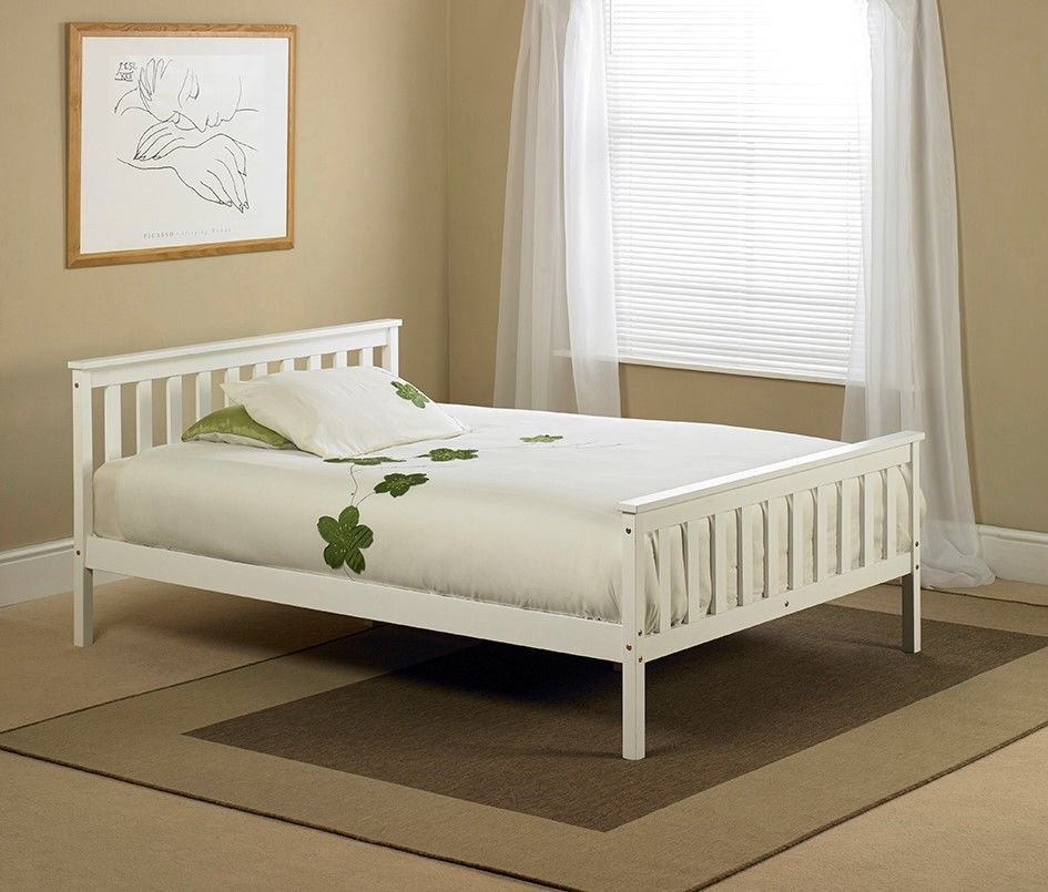 White Shaker Wooden Wood Bed Frame Bedstead - Double 4ft6 | bed ...