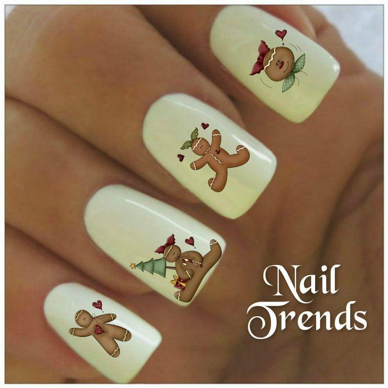 Christmas Nail Decal 20 Gingerbread Man Vinyl Stickers Nail Art by ...