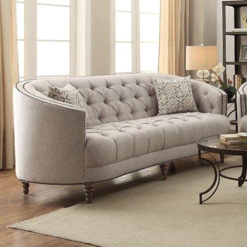 Coaster Avonlea C Shaped Sofa With Button Tufting And Nailhead