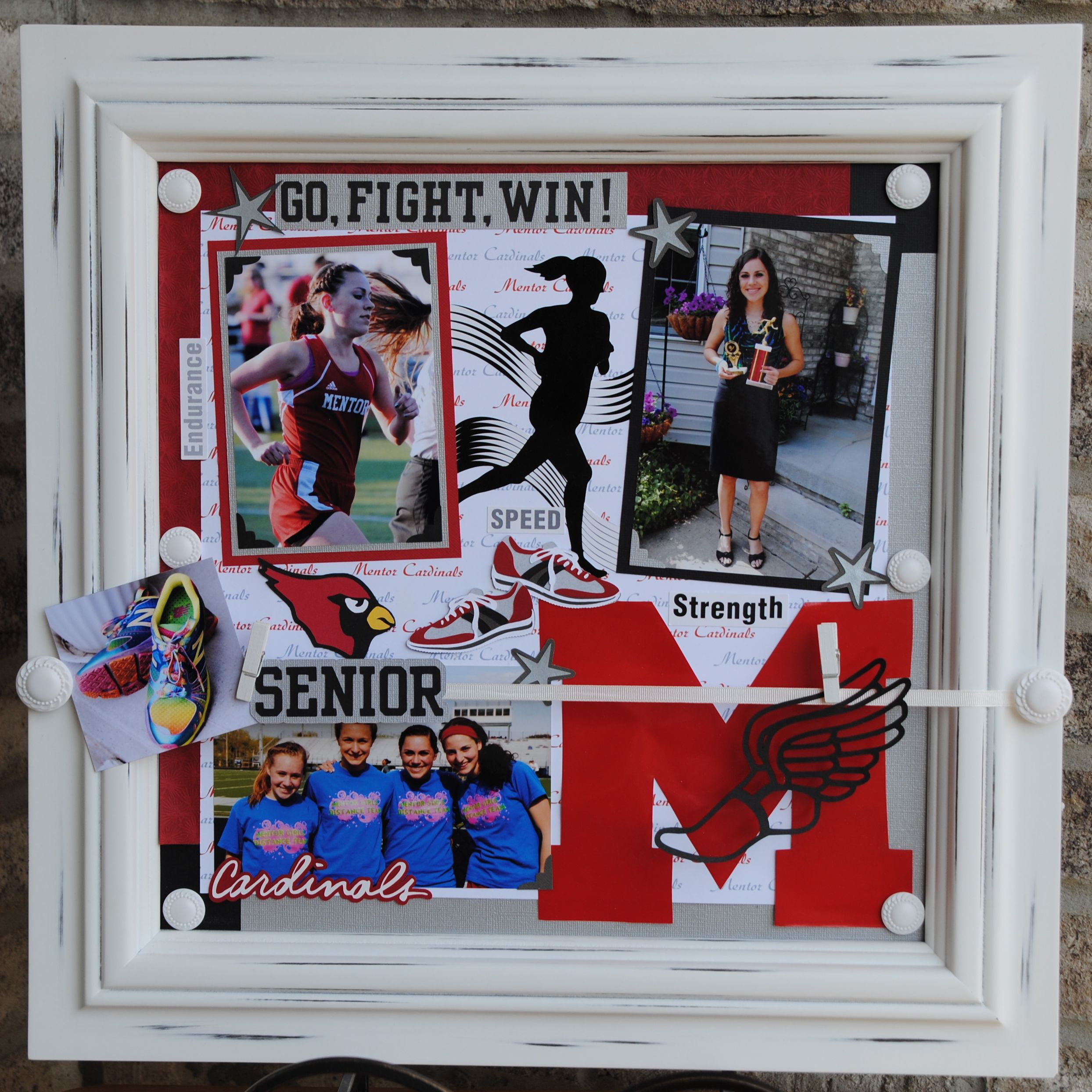 18x18 Display frame commemorating Senior year of Track & Field