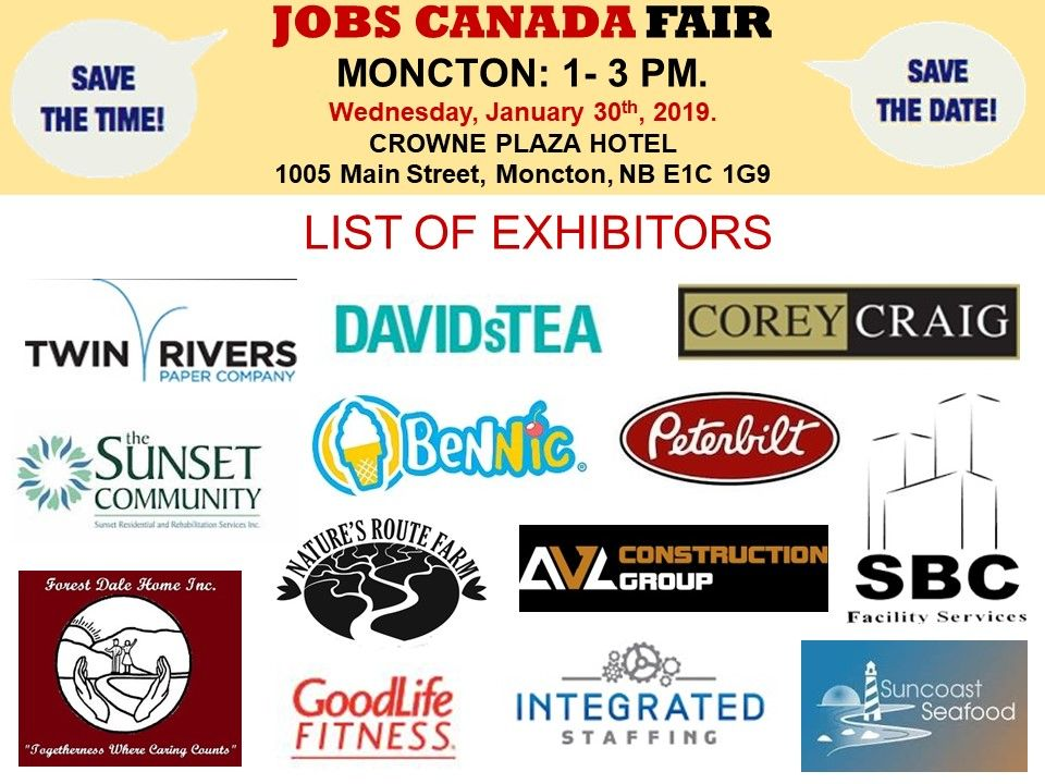 List of Hiring Companies for Moncton Job Fair January