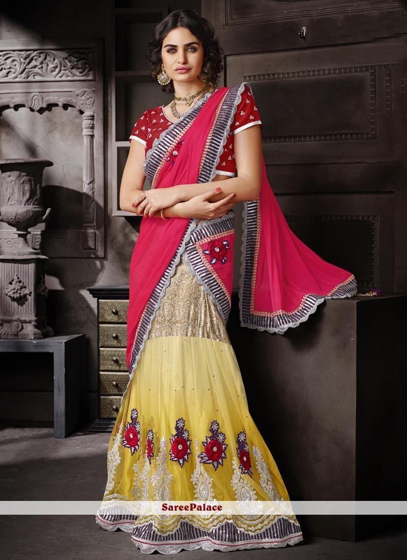 41cee8e621 Yellow And Pink Net And Chiffon Lehenga Saree | Designer Lehenga ...