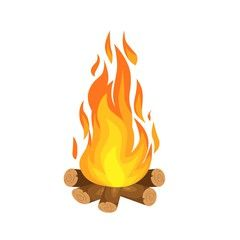 Vector Illustration Of Burning Bonfire With Wood On White Background Campfire Drawing Vector Illustration Illustrator Inspiration