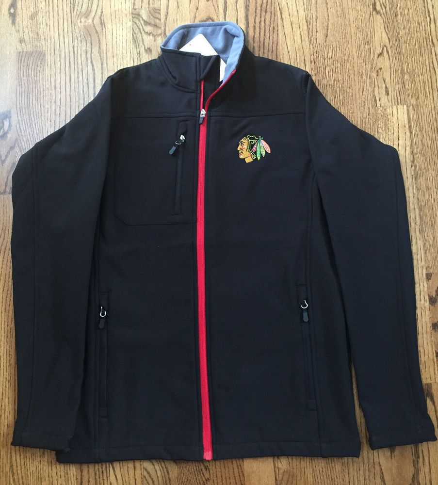 Chicago Blackhawks Warm Up Jacket NHL Branded Fleece Lined Size SMALL NWT…