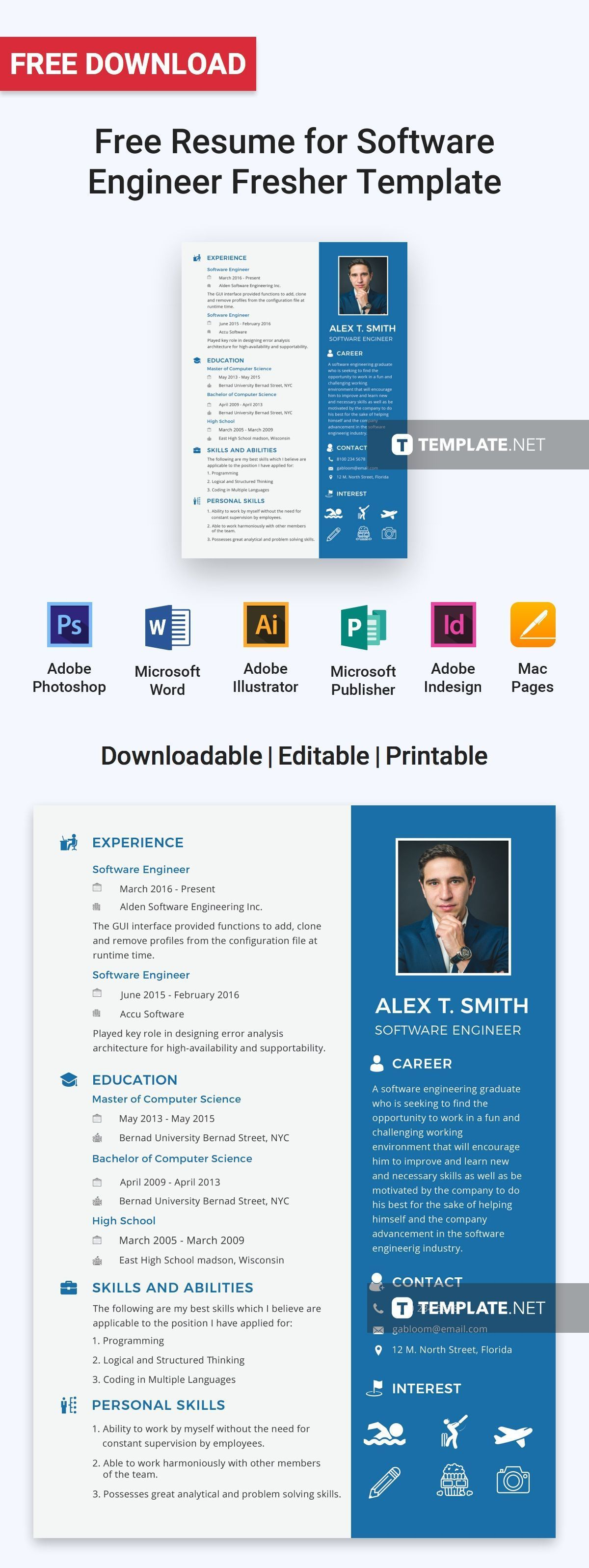 Free Resume for Software Engineer Fresher Resume tips