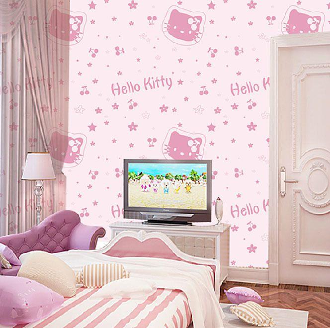 Free Shipping Hello Kitty Non Woven Fabric Bedroom Wallpaper