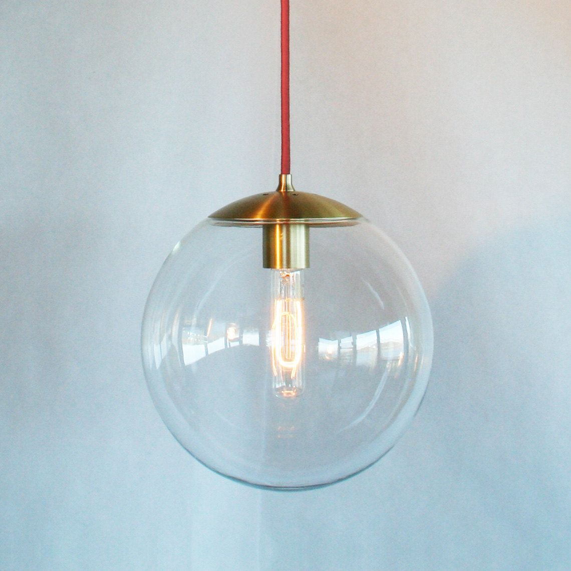 Lovely Modern Mid Century Globe Pendant Light Clear By TheiaLuminaires, $189.00