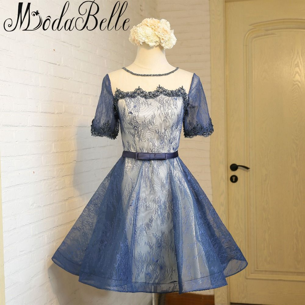 Click to buy ucuc modabelle short sleeve lace prom dresses short