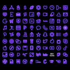 Purple NEON iOS Icon Pack, Aesthetic iPhone iOS 14